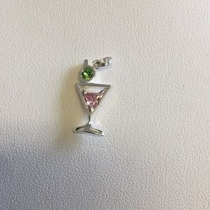 Jewelry - Sterling silver pink and green stone martini glass
